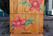 Ul wielkopolski 10 malowany z motywami kwiatowymi drewniany